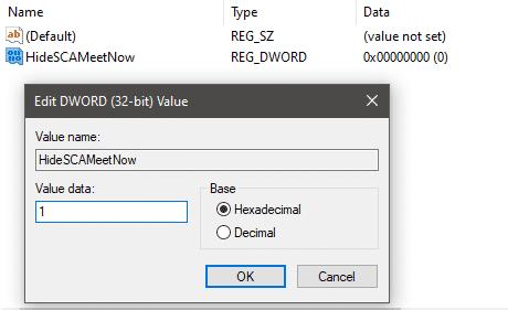 Set Value - Disable Meet Now Icon From Taskbar